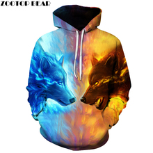 Ice Fire Wolf Hoodies 3D Men Women Sweatshirts Fashion Pullover Autumn Tracksuits Harajuku Outwear Casual Animal Male Jacket
