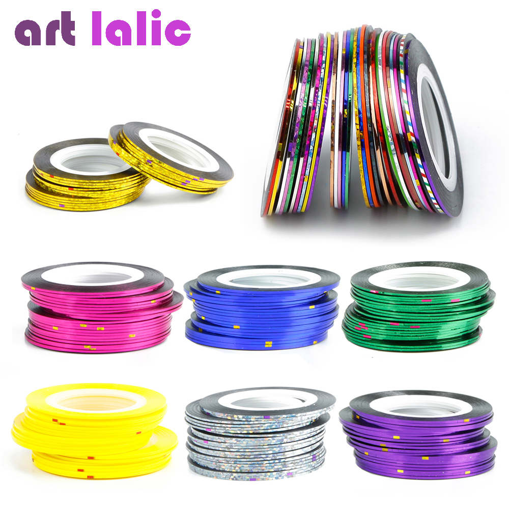 Artlalic 10 Rolls Line Nail Striping Tapes Sticker 1mm Adhesive Multi Color DIY Manicure Nail Art Styling Tools Tips Decals 10pcs pack 2mm mix colors rolls metallic adhesive striping tape wide line diy nail art tips strip sticker decal decoration kit