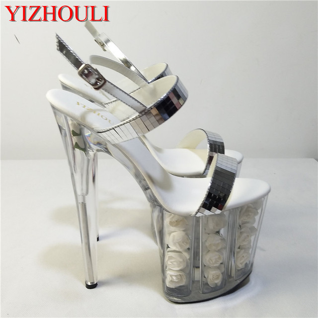 8 inch white flowers fashionable wedding heels silver glitter strappy  sandals Stripe Platform pole shoes 63ac4fab1a91