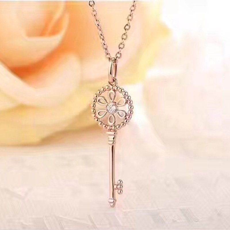 ANI 18K Rose Gold (AU750) Pendant Necklace Real Diamond Jewelry Custom Key Shape Chain Necklace for Women Engagement Birthday ani 18k rose gold pendant necklace ruby fine color gemstone jewelry natural diamond snow shape fashion women engagement necklace