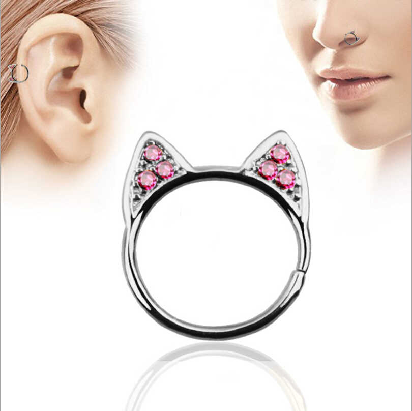 Surgical Steel CZ Crystal Stud Earrings for Women Cute Cat Ear Nose Studs Septum Nose Hooks Bar Pin Nose  Body Piercing Jewelry