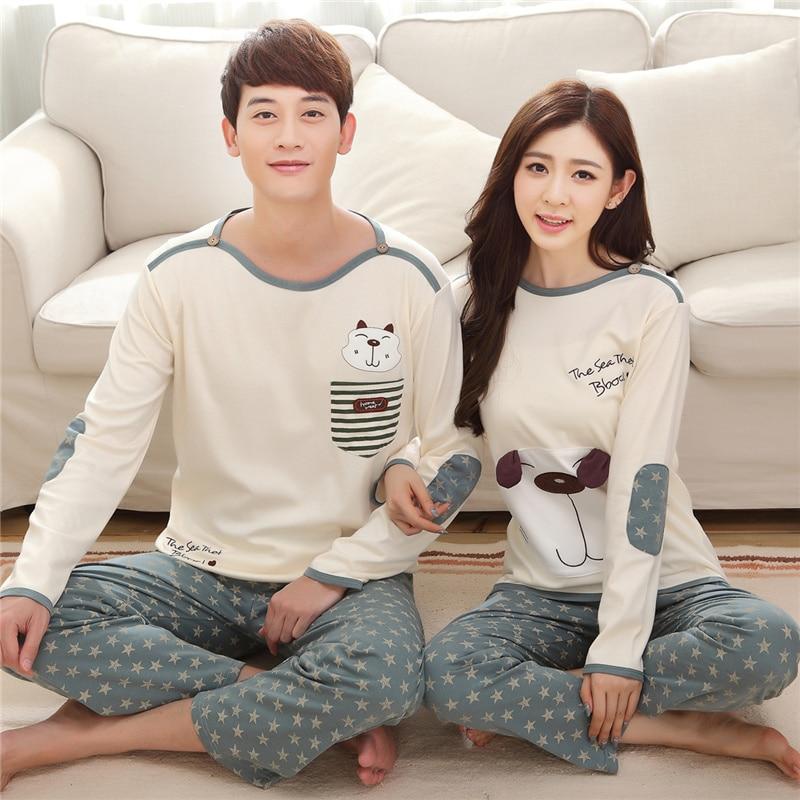 New Autumn Winter 100%Cotton Cartoon Long Sleeve Round Neck Couple   Pajamas     Set   Plus Size M-3XL Leisure Loose Warm Lovers Pyjamas