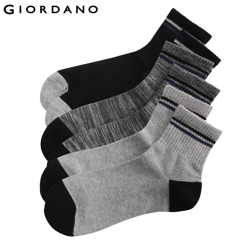 Giordano Men Socks 3-pack Ribbed Top Crew Socks Sokken Chaussettes Pour Hommes Dress Sock For Man Famous Brand Meias