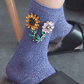 Retro hecho a mano calcetines de las mujeres de Girasol rhinestones calcetines impresos Mujeres Cortos Elásticos Calcetines Para Mujer