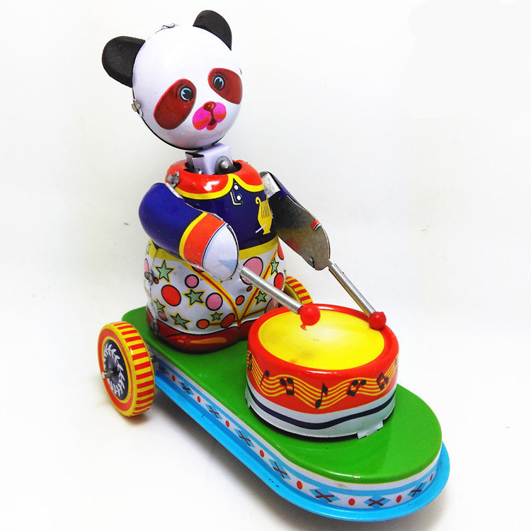 Adult Collection Retro Wind up toy Metal Tin The panda drum Mechanical toy Clockwork toy figures model kids christmas gift