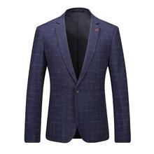 2017 high quality Grid stripe single button Classic lattice Men's business casual blazer coat men Business blazer jackets