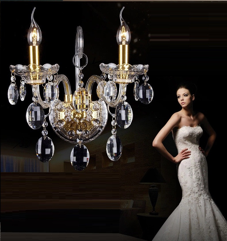 ФОТО Luxury top K9 crystals transparent gold Crystal Wall Lamp Candle 1/2/3 E14 Bulbs heads lampshades beside bed room light