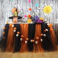 QuickDone Halloween Tulle Table Skirt DIY Tutu Tableware Skirts Light Pumpkin Light White Skull String Light Halloween HG0586