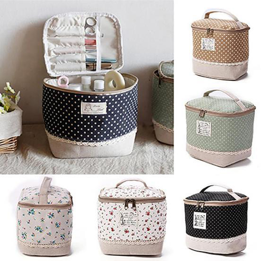 Travel Dot Floral Printed Cosmetic Makeup Bag Big Size Portable Zipper Toiletry Make Up Organizer Lunch Box Storage Case