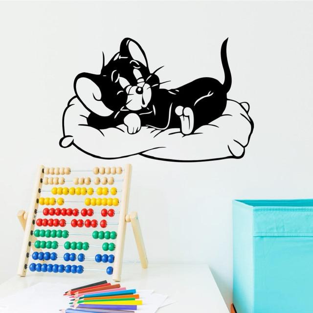 Animasi Kartun Tom Dan Jerry Tikus Lucu Stiker Dinding Kamar Tidur Ruang Tamu Rumah Dekorasi Vinyl