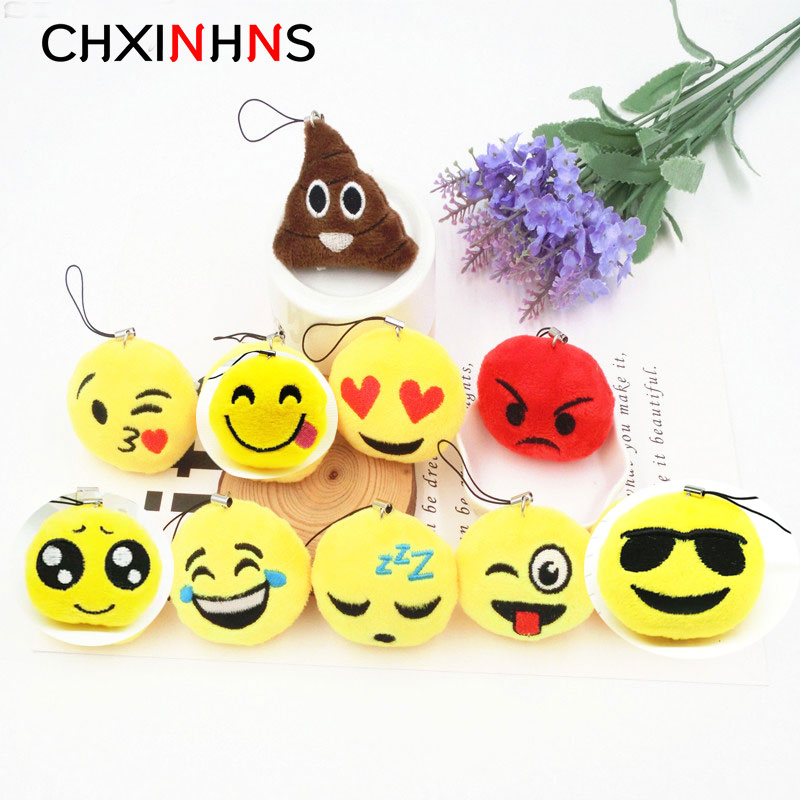 2018 Fashion Cute Cartoon Expression emoji Keychain Yellow Plush Face Anime Key Chains For women men