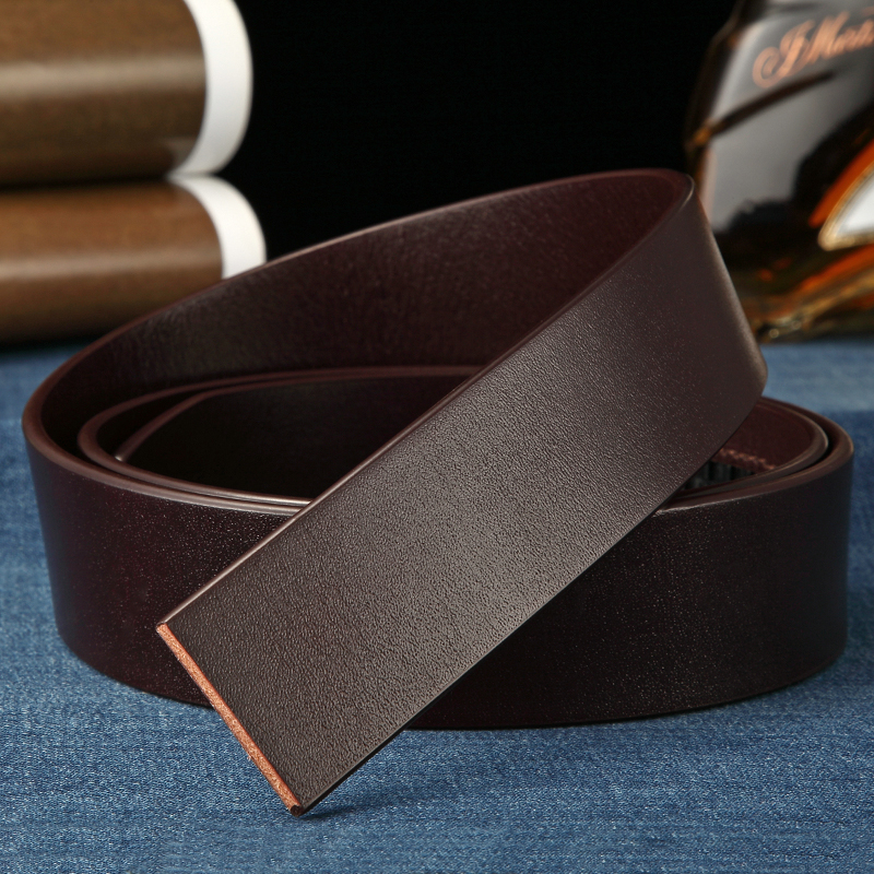 Image 3 - BIGDEAL No Buckle 3.5cm Wide Real male Genuine Leather Belt Without Automatic Buckle Strap Designer Belts leather belt menMens Belts   -