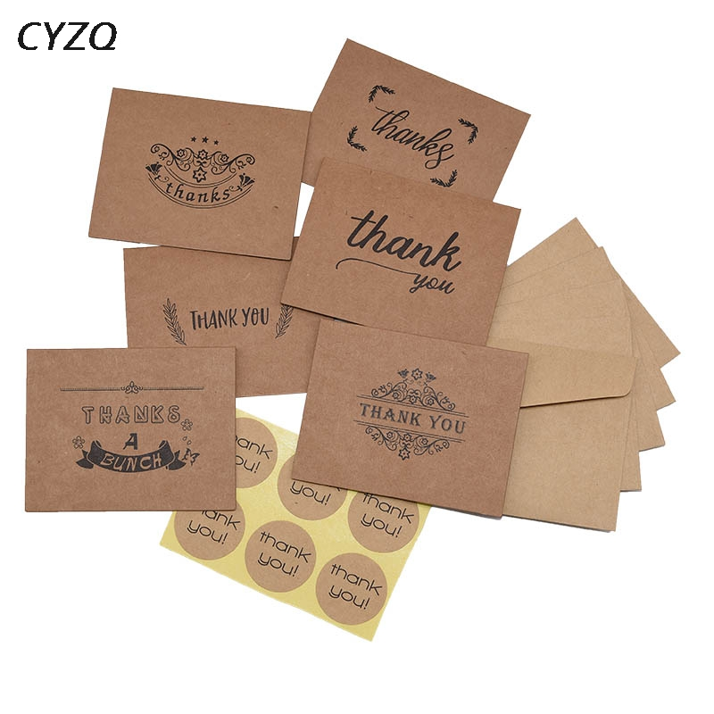 6pcs/set <font><b>Blank</b></font> Thank You Kraft Paper <font><b>Cards</b></font> Note Envelopes Greeting <font><b>Cards</b></font> <font><b>invitation</b></font> Wedding Thanks Birthday DIY Thank You <font><b>Cards</b></font> image
