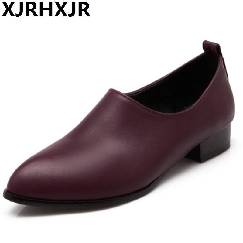 Shoes Woman Fashion European Thick Heels Leather Pumps Slip On Ladies Shoes Spring Autumn 2017 Pointed Toe Pumps star pointed toe pearl latest bow slip on flats beautiful ladies shoes suede black bee 2017 women spring autumn european fashion