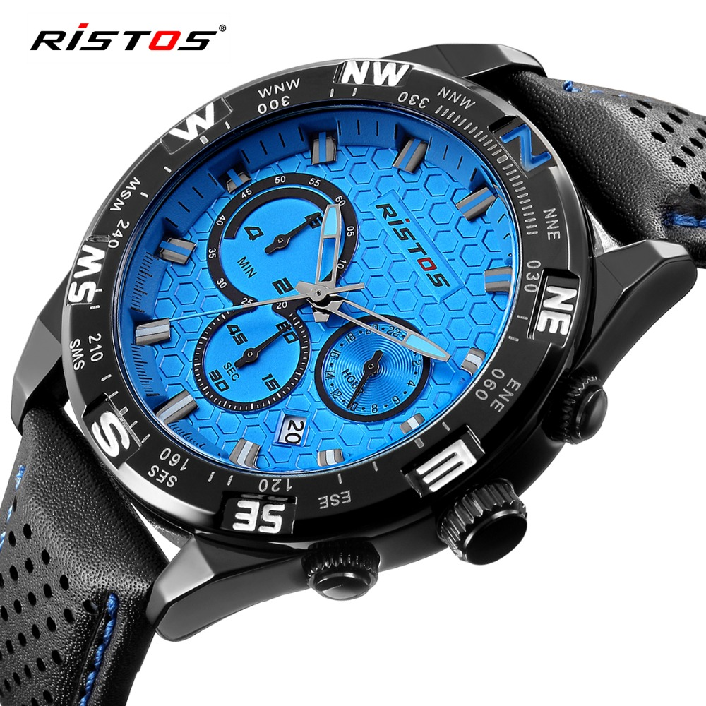 RISTOS New Fashion Sport Men Watch Chronograph Calendar Quartz Leather Watches Male Military Date Wrist Watch Blue Relojes 2016 hubot elegant classic men s watch dates calendar classical art carved craft design chronograph men sport watches relogios