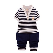 2pcs Summer Baby Boys girls Clothes sets Baby Clothing Set Cotton Clothing Baby Clothes Short Sleeve Striped T-shirt+short Pants 2pcs baby girl set cotton t shirt baby girl clothes girls clothing sets short sleeve skirts casual 2pcs girls suits