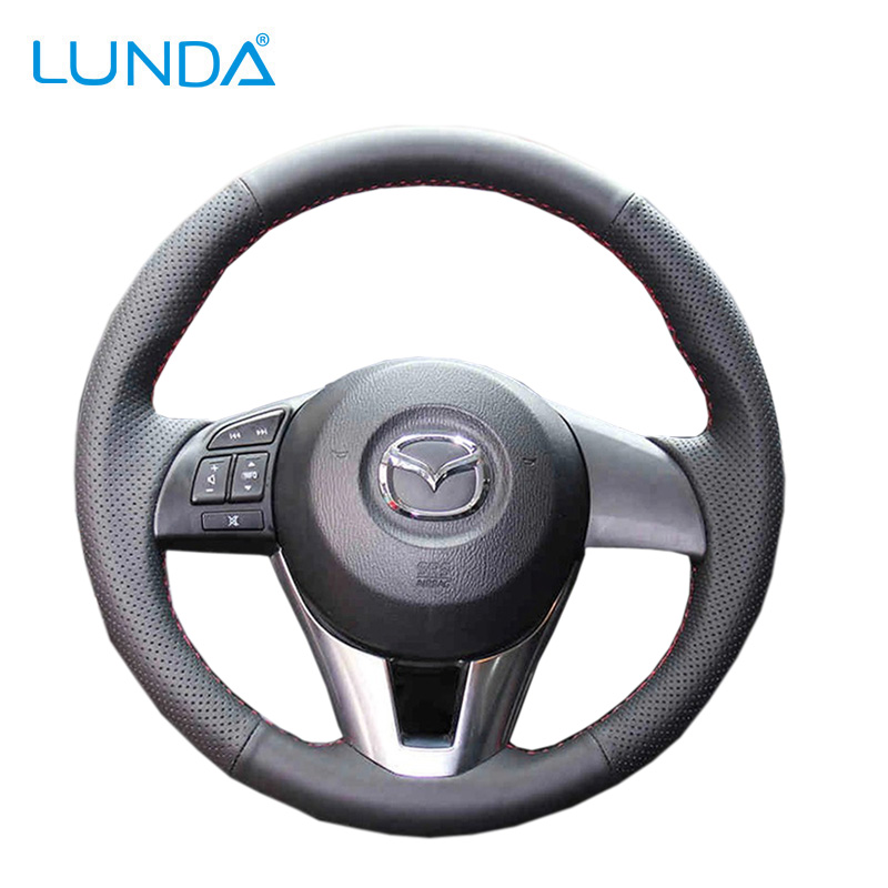 LUNDA Black Leather DIY Car Steering Wheel Cover for Mazda CX-5 Mazda 3 2013-2016 Scion iA 2016 Mazda 6 2014-2016