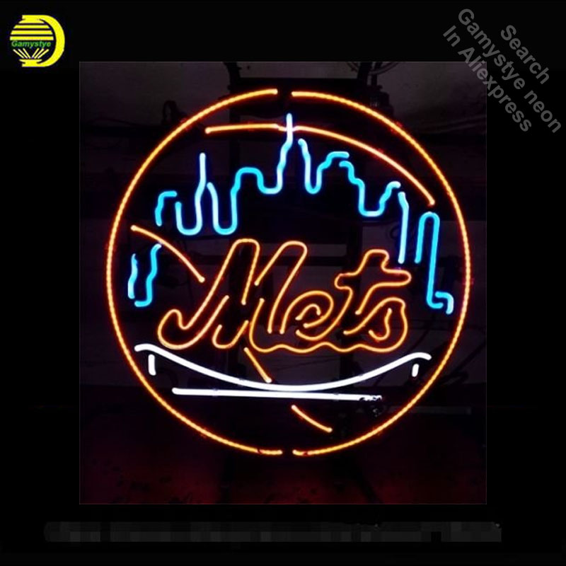 Neon Sign for Sports Teams NYM Mets Neon Light Sign Room Display Pirate signs Neon Tube Sign handcraft Publicidad lamps Custom