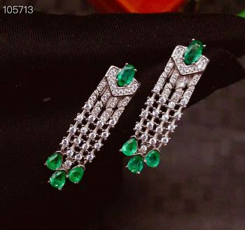 [MeiBaPJ]Luxurious Natural Columbia Emerald Gemstone Drop Earrings Real 925 Silver Fashion Earrings Fine Charm Jewelry for Women