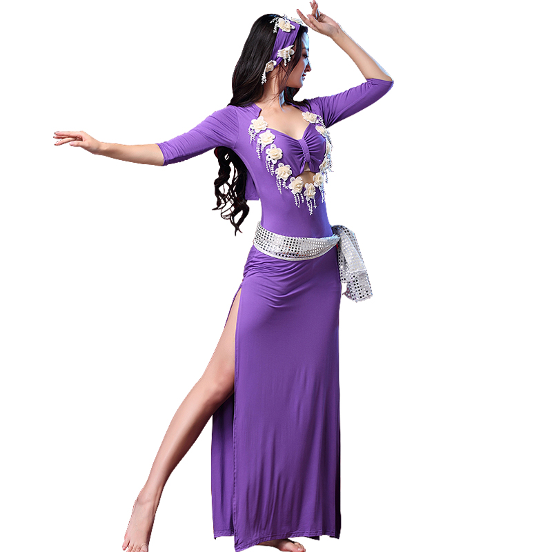 Newest Belly Dance Costume Belly Dancing Dress+belt+headscarf Suits For Woman Belly Dance Wear 4 Colours M, L Q3080