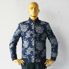 jeans blue with jacquared offwhite large flowers man's fashion bomber jacekt ,designer tailor cut free shipping