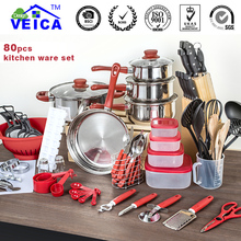 Top Fashion Real Cookware Cooking Pots And Pans Set 80 Piece Kitchen Starter Combo Utensil