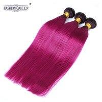 Fashion Queen Per colored Brazilian Straight Hair 3 Bundles 1b/Burgundy Human Hair Extensions Ombre Hair Weave Bundles