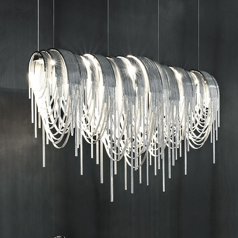 Post Modern Tassel Led Pendant Lights Silver Aluminum Chain Pendant Lamp Lamparas Lustre Led G9 Pendientes New Design HanglampPost Modern Tassel Led Pendant Lights Silver Aluminum Chain Pendant Lamp Lamparas Lustre Led G9 Pendientes New Design Hanglamp