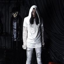 2017 New Fashion Avant-garde Designer Men's Cotton Tassel Costume Hooded Short T Shirts Tee Fit Mens Tops Nightclub Clothing
