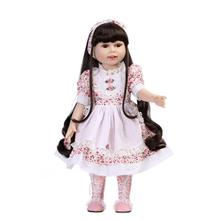 New Style American Girl Doll 18 inch All vinyl Body Girl Doll Toy Birthday Gift Doll in Flower Pattern Dress