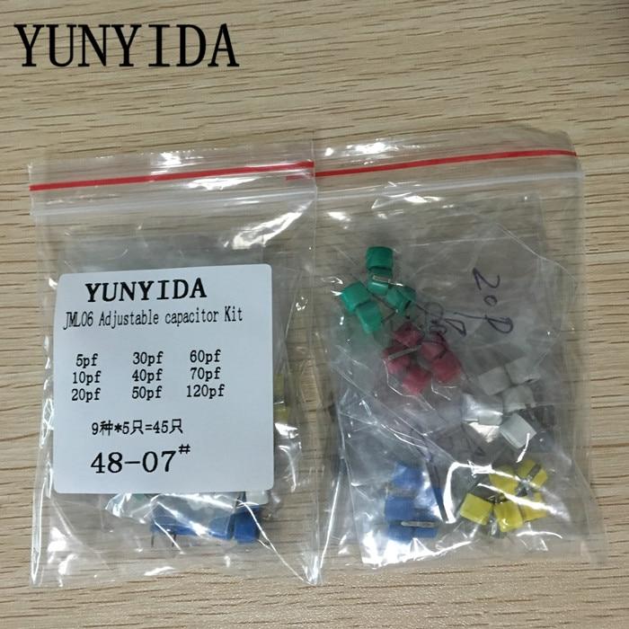 Купить с кэшбэком Free Shipping 45pcs=9value*5pcs trimmer Adjustable capacitor Assortment Kit JML06 5pf 10pf 20pf 30pf 40pf 50pf 60pf 70pf 120pf