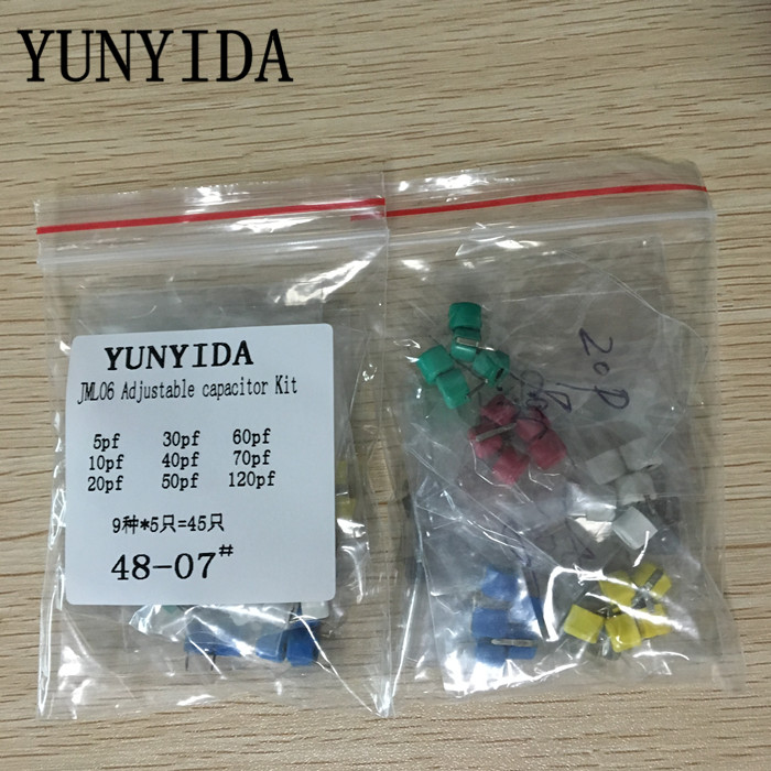 Free Shipping 45pcs=9value*5pcs Trimmer Adjustable Capacitor Assortment Kit JML06 5pf 10pf 20pf 30pf 40pf 50pf 60pf 70pf 120pf