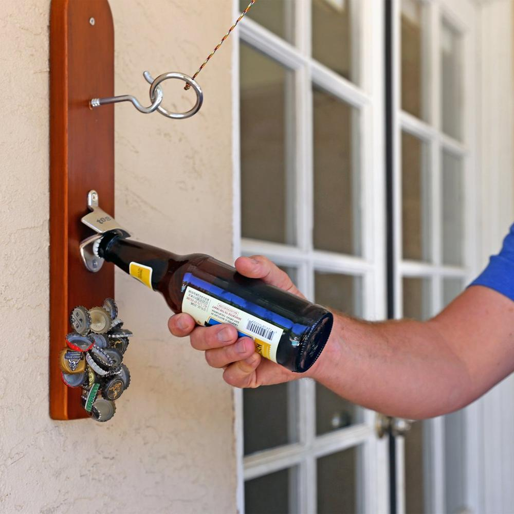 Hook And Ring Game With Bottle Opener And Magnetic Bottle Cap Catch Wall Mounted Bottle OpenerBottle Opener Keychain