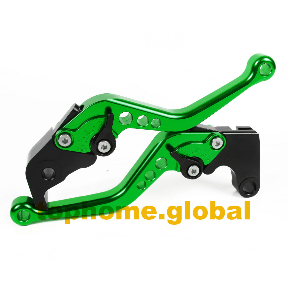 Short Size Motorcycle CNC Clutch Brake Levers For Kawasaki ZZR600	2005-2009 2006 2007 2008 Green&Black Handlebar  Free Shipping aftermarket free shipping motorcycle parts eliminator tidy tail for 2006 2007 2008 fz6 fazer 2007 2008b lack