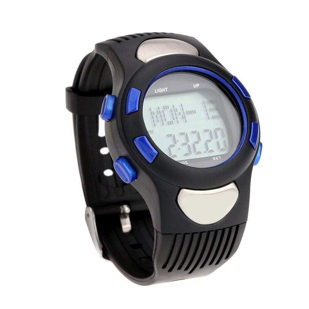 SZ-LGFM-3ATM Heart Rate Monitor Sport Puls Monitor Fitness uebungs Uhr Stoppuhr Pedometer Kalorien Outdoor Radsport blau