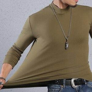 Image 3 - Arcsinx ハーフタートルネック男性 tシャツカジュアル長袖 tシャツ男性プラスサイズ 6XL 5XL 4XL 3XL ファッションフィット tシャツ男性