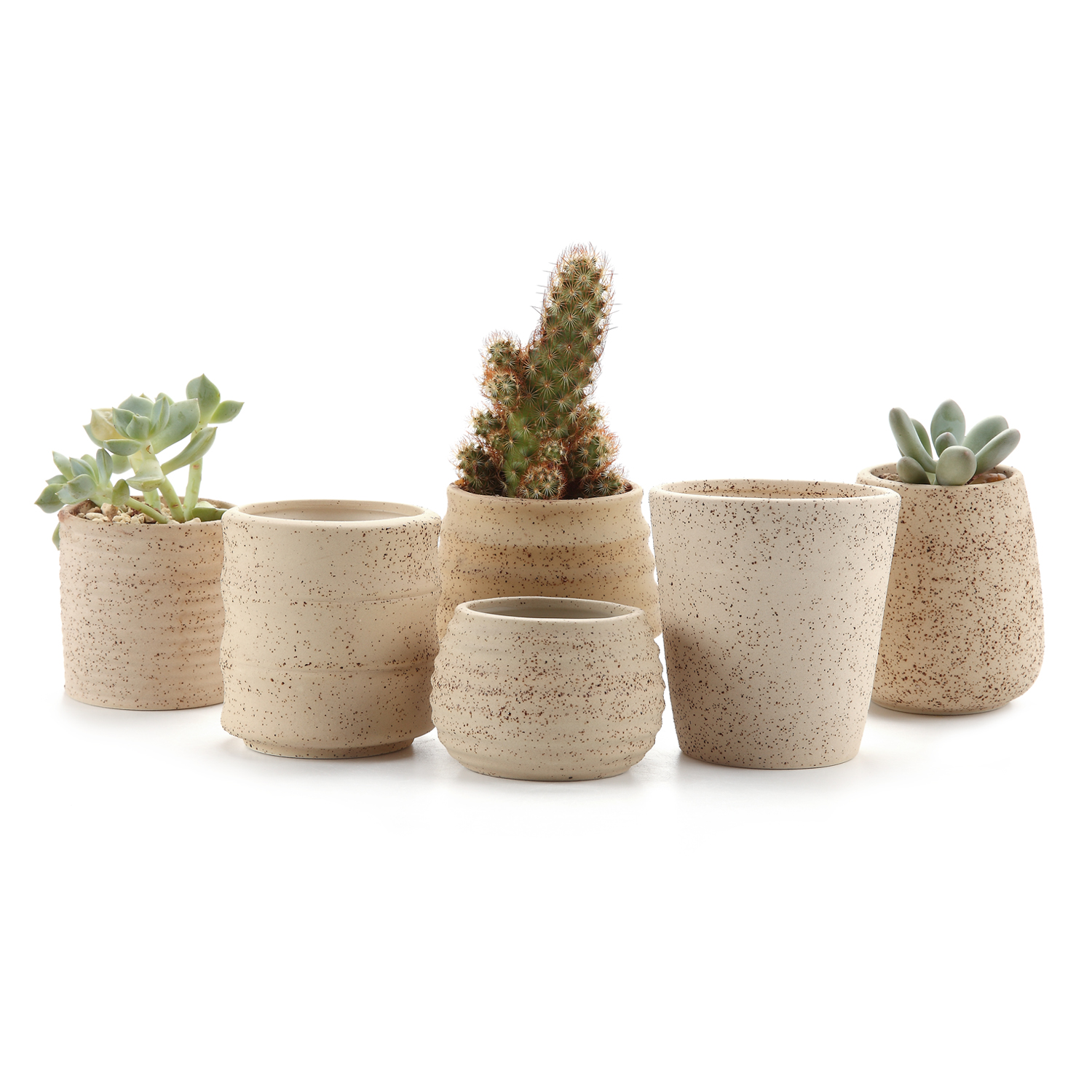 T4U Clay Stripe Oblate Shape Succulent Planter Plant Pot Cactus Maceta Bonsai Pots Flower Pot Container Plante 3 Inch