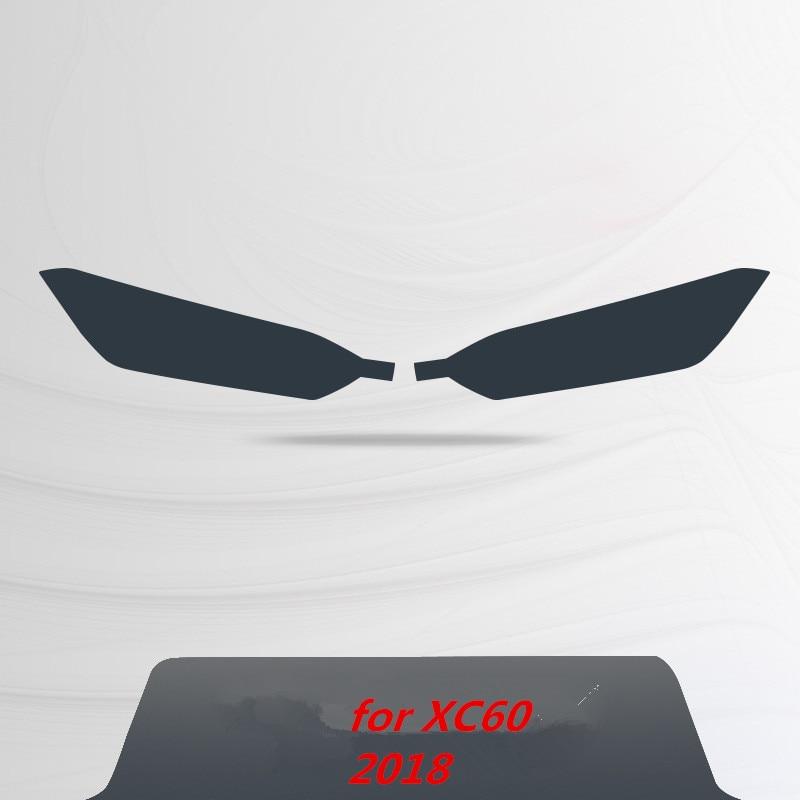 Для Volvo S60 XC90 XC60 V90 аксессуары головной светильник защитная пленка Цвет черный дымчатый матовый светильник головной светильник пленки углеродное волокно автомобильные наклейки - Название цвета: for XC60  2018