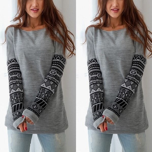 Hot Sale Women Casual Shirts Long Sleeve Knitted Tops Crochet Jumper Pullover Casual Loose Gray Tops