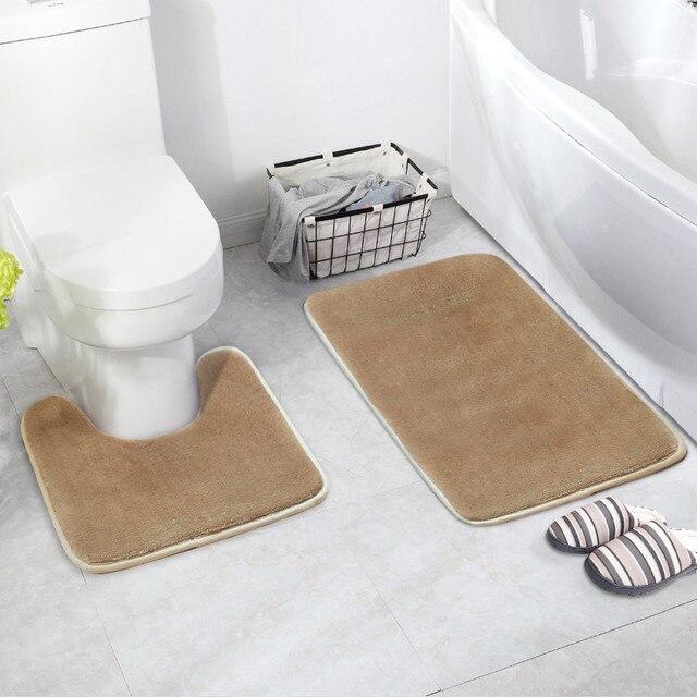 2 pz/set Assorbimento di Acqua Anti-skid Sedile del Water Cuscino U-tipo di Cuscino Da Bagno Zerbino Bagno Zerbino tapete para box alfombra ducha