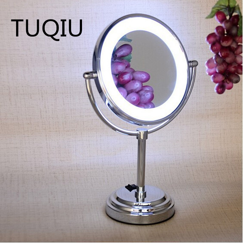 Bath Accessories 8 inch Brass 3X/1X Double face Desktop Magnifying Mirror Led Mirror Folding Makeup Mirror Cosmetic Mirror 8 inches folding desktop makeup mirror 3x 5x 7x 10x magnifying double side mirror metal portable travel cosmetic mirror