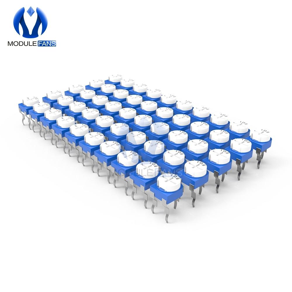 100 шт., Подстроечный резистор RM065, потенциометр, переменный резистор 100R 200R 500R 1K 2K 2,2 K 3K 5K 10K 20K 50K 100K 500K 1M Ом