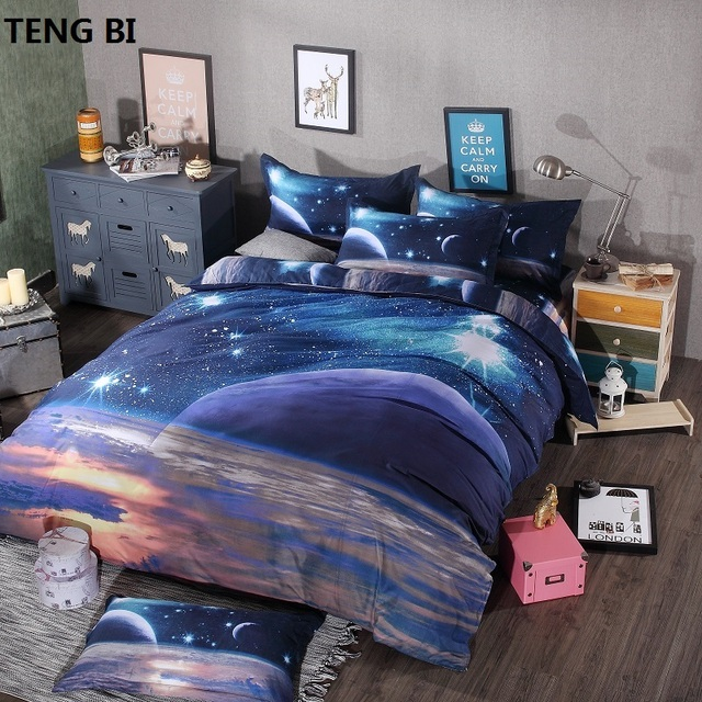 Galaxy bedding 3pcs/4pcs milky way queen king hipster 3D duvet cover set