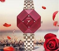 Модные Брендовая Дизайнерская обувь нерегулярные случае Для женщин Часы довольно красочный кристалл Рамки наручные часы Сталь браслет montre