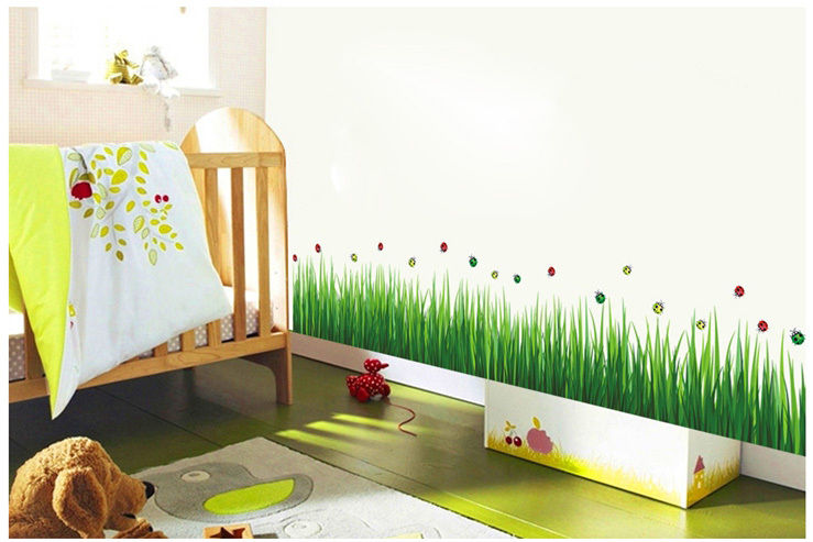Fresh Grass Wall Border Stickers Waterproof Green Plants Vinyl Decals Wallpaper Family Bedroom Bathroom Nursery Tile Decoration