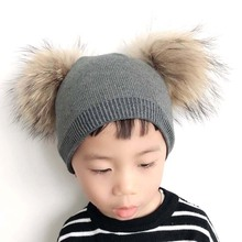 Double Fur Pompom Hat Baby Winter Cap For Kids GIrls Boys Knitted Hat Children Soft Cashmere Wool