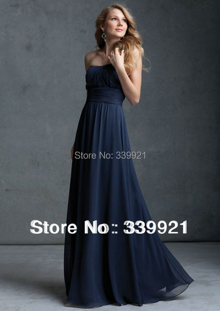 Pleated Strapless Empire Waist Chiffon Long Bridesmaid Dress Sexy Formal Gown 2016