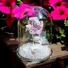 H & D Kristall Rosa Rose Blume Briefbeschwerer Glas Dome Blume Figurine Sammeln Statue Geschenk Hochzeit Tafelaufsatz Ornament