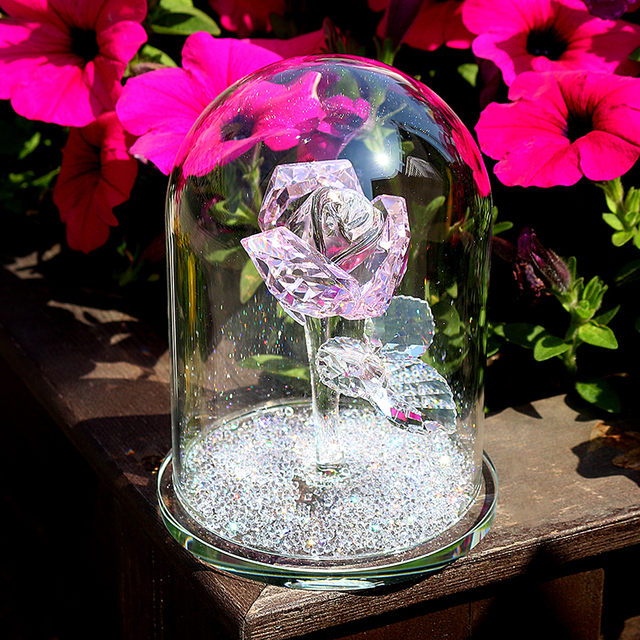 H & D كريستال الوردي زهرة ثقالة الورق زجاج قبة زهرة تمثال تحصيل تمثال هدية الزفاف الجدول محور زخرفة
