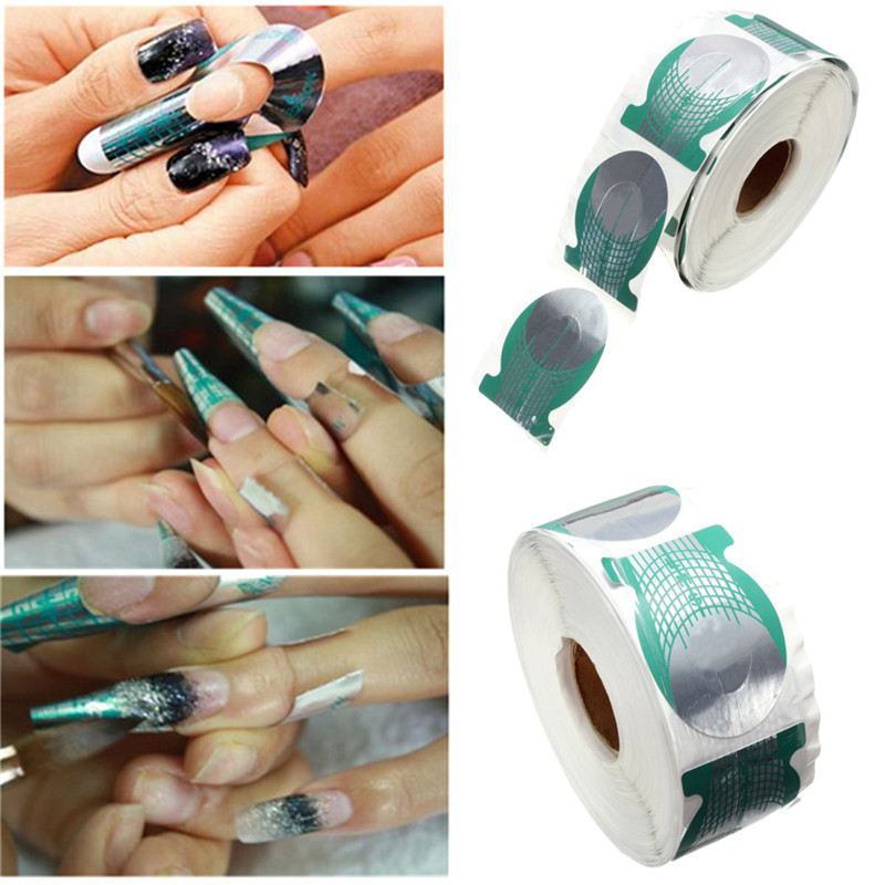 500pcs roll Nails Extension Form Green Horseshoe Shape Nail Art Tip Roll Acrylic DIY Tools Curve
